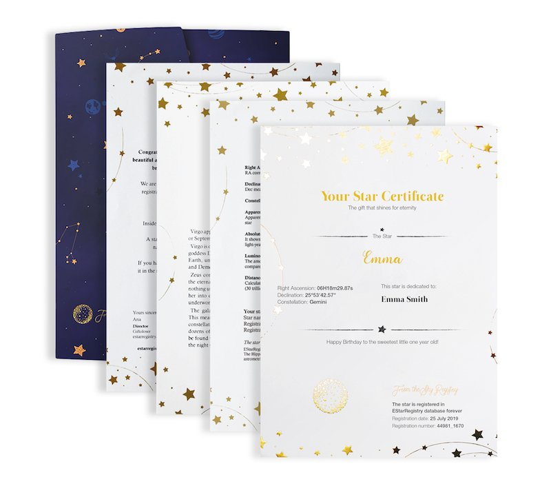 Name a Star Personalised Gift From the Sky Registry